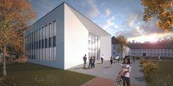 - Perspektive des Neubaus als Computeranimation © 2014 BASTMANN + ZAVRACKY Rostock