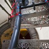 Klaffende Lücke: Während der Arbeiten muss die Wendeltreppe für Besucher gesperrt werden. © Lutz Grünke  Binz