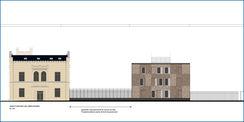 Planzeichnung mit Zaunabschnitt zwischen saniertem Altbau und Neubau. © 2015 Betrieb für Bau und Liegenschaften Mecklenburg-Vorpommern