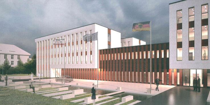 Visualisierung des Eingangsbereiches © 2016 Betrieb für Bau und Liegenschaften Mecklenburg-Vorpommern