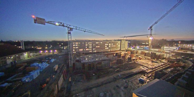 Blick vom Perioperativen Zentrum auf das Baufeld. Stand: 3. Januar 2017 © 2017 Betrieb für Bau und Liegenschaften Mecklenburg-Vorpommern