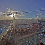 Blick vom Perioperativen Zentrum  dem Neubau der Chirurgie  auf das Baufeld. Stand: 2. Januar 2017 © 2017 Betrieb für Bau und Liegenschaften Mecklenburg-Vorpommern