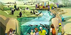 Das Polarium im Zoo Rostock entsteht unter Verwendung von Fördermitteln. Die Betreuung des Zoos bei der Antragstellung sowie die Prüfung der Verwendung der Fördermittel übernimmt der BBL M-V. Hier ein Blick in die geplante Anlage für die Pinguine. © 2017 Zoologischer Garten Rostock