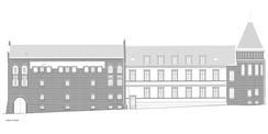 Südansicht mit neuen Dachgauben  v.l.n.r.: Hafthaus   Altes Gebäude   Hauptgebäude (mit Turm) © 2017 Albert und Planer / Baumanagement Ulrich BMU