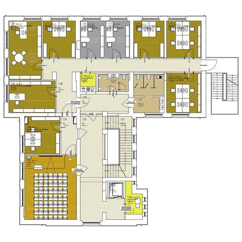 Grundriss 1. Obergeschoss mit neuem Raumkonzept © 2017 Betrieb für Bau und Liegenschaften Mecklenburg-Vorpommern