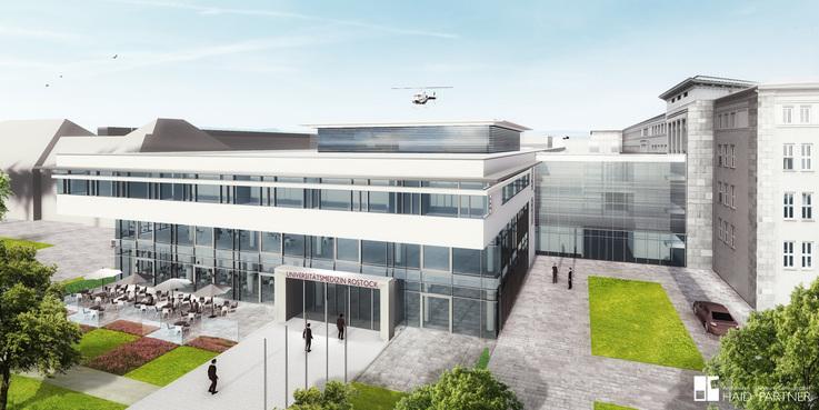 Blick von der Schillingallee auf den Neubau. Hier wird der Eingang zu den Zentralen Medizinischen Funktionen sowie der Hauptzugang zum Campus Schillingallee sein. (Visualisierung Stand September 2017) © 2017 Haid + Partner GmbH Architekten  Nürnberg