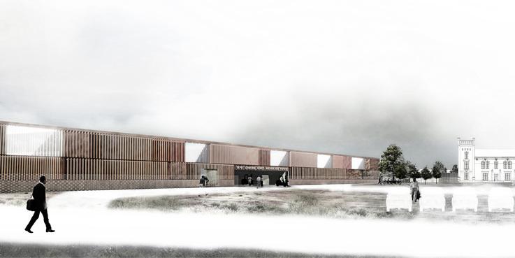 Visualisierung des Entwurfs aus dem Planungswettbewerb (2012). © 2012 Scheidt Kasprusch. Gesellschaft von Architekten mbH. Berlin