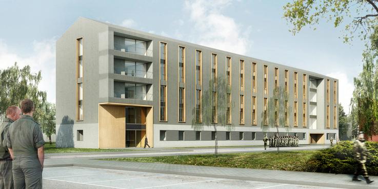 Visualisierung des neuen Unterkunftsgebäudes. © 2018 MHB Planungs- und Ingenieurgesellschaft mbH