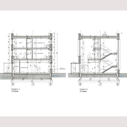 Seminar-/Verwaltungsgebäude - Gebäudeschnitte © 2017 HWP Planungsgesellschaft mbH  Stuttgart