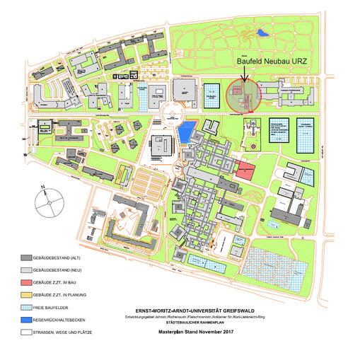 Masterplan Gesamtcampus mit Kennzeichnung des geplanten Standortes für den Neubau Universitätsrechenzentrum © 2017 Betrieb für Bau und Liegenschaften Mecklenburg-Vorpommern