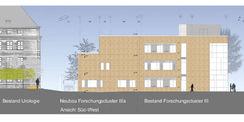 Ansicht Süd-West - Der Neubau des Forschungsclusters IIIa wird direkt an das 2012 fertig gestellte Gebäude Forschungscluster III angebaut. © 2016 tönis + schroeter + jansen freie architekten gmbh  Lübeck