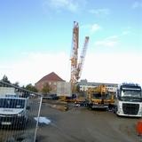 Blick auf die Baustelle - der Kran wird aufgebaut. © 2018 Betrieb für Bau und Liegenschaften Mecklenburg-Vorpommern