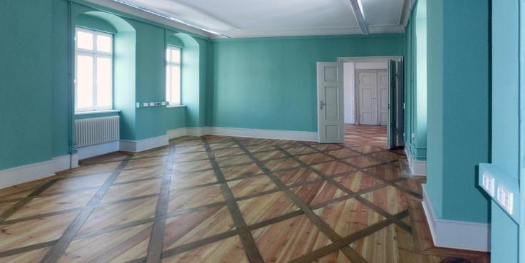 Grüne Saal wieder in seiner ursprünglichen Gestaltung © 2018 Betrieb für Bau und Liegenschaften Mecklenburg-Vorpommern