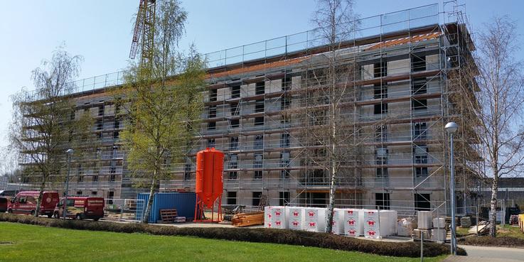 Der Rohbau steht und wird am 3. Mai 2018 gerichtet. © 2018 Betrieb für Bau und Liegenschaften Mecklenburg-Vorpommern
