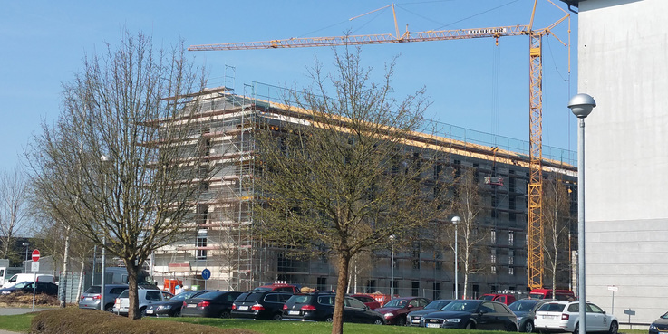 Auf sechs Etagen werden die Angehörigen der Bundeswehr hier untergebracht werden. © 2018 Betrieb für Bau und Liegenschaften Mecklenburg-Vorpommern