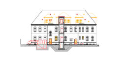 geplante Ansicht Süd/ Hof mit dem Rückbau der Dachgauben © 2018 milatz.schmidt architekten gmbh Neubrandenburg