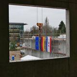 Die Baustelle ist für das Richtfest geschmückt © 2018 Betrieb für Bau und Liegenschaften Mecklenburg-Vorpommern