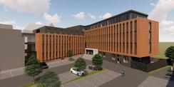 Computeranimation des geplanten Neubaus mit Blick auf den Eingang © 2018 Buttler Architekten GmbH Rostock