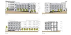 Gebäudeansichten des geplanten Neubaus Haus 4 in der Blücherstraße 1-3 © 2019 ARGE buttler brenncke architekten  Rostock