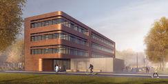 Visualisiert. Die Nutzung spiegelt sich in der Architektur wider - das E-Technikum ist einer Kupferspule nachempfunden. © 2020 SEHW Architektur Gmbh; Berlin