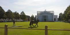 Die Auszubildenden des Landgestüts proben für die Picknickparaden. Auf dem Surfbrett kann man sich also auch vom Pferd ziehen lassen. © 2020 SBL Schwerin