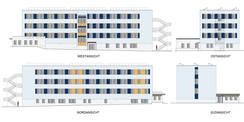 geplante Ansichten des Block E © 2018 Betrieb für Bau und Liegenschaften Mecklenburg-Vorpommern