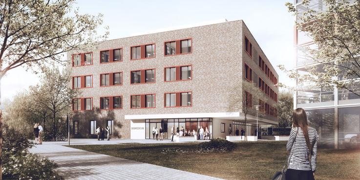 Der Neubau vom Park aus gesehen. © 2018 mhb Planungs- und Ingenieurgesellschaft mbH