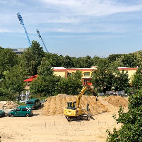 In der unmittelbaren Nähe zum Ostseestadion liegt das Baufeld für das Biomedicum. © 2018 Betrieb für Bau und Liegenschaften Mecklenburg-Vorpommern