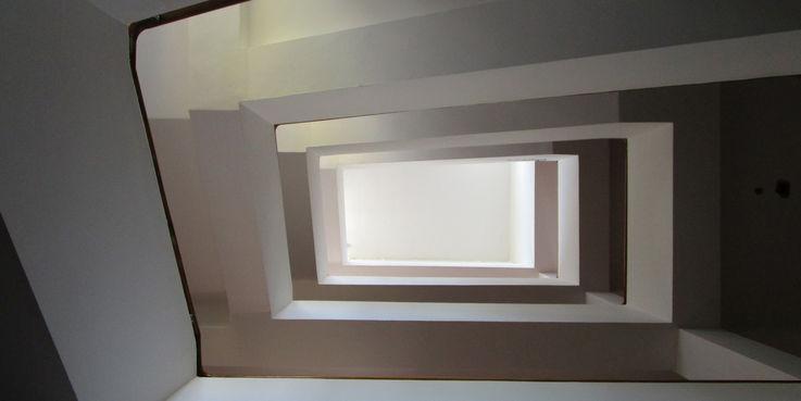 Schaut nicht mehr lange so gut aus - Treppenauge im Plattenbau  der bis Ende 2019 zurückgebaut wird. © 2018 Dr. Michael Sieg  Landesamt für Gesundheit und Soziales Mecklenburg-Vorpommern