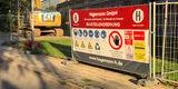 Betreten verboten! Die Baustelle ist eingerichtet  der Abbruch des Anbaus entlang der Ferdinandstraße beginnt in Kürze. © 2018 Betrieb für Bau und Liegenschaften Mecklenburg-Vorpommern