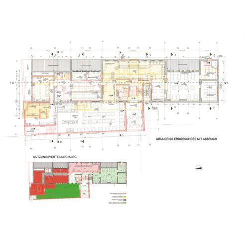 Grundriss Erdgeschoss mit Darstellung von Abbruch und Neubau © 2012 Eßmann Gärtner Nieper Architekten Leipzig