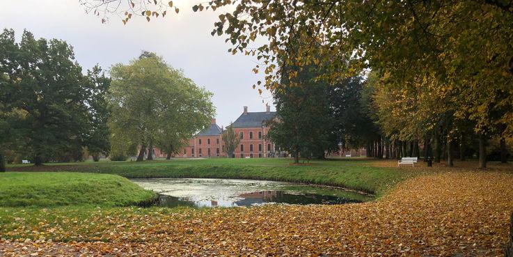Der Schlosspark Bothmer legt sich ein herbstliches Gewand zu. Am 18. Oktober 2018 stellte der BBL M-V eine weitere Attraktion im Park auf. © 2018 Betrieb für Bau und Liegenschaften Mecklenburg-Vorpommern