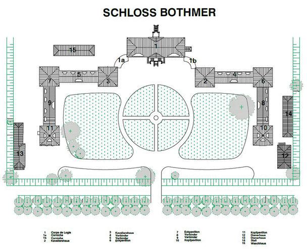 Übersicht gesamte Barockanlage Schloss Bothmer © 2018 Betrieb für Bau und Liegenschaften Mecklenburg-Vorpommern