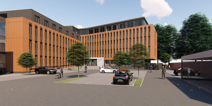 Computeranimation des geplanten Neubaus © 2018 Buttler Architekten GmbH Rostock