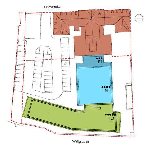 Übersichtslageplan  Erweiterungsbau grün hinterlegt. © 2018 Buttler Architekten GmbH Rostock