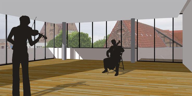 Visualisierung der Nutzung des Seminarraumes © 2018 Architekturbüro Albert und Baier