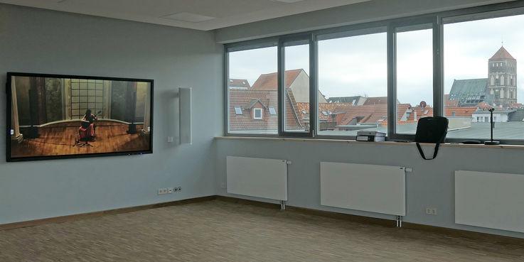 Die neue  hochwertige Medientechnik im Seminarraum. © 2019 Betrieb für Bau und Liegenschaften Mecklenburg-Vorpommern