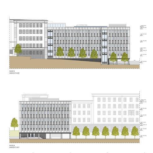 Ansicht Süd und Ost des geplanten Neubaus in der Blücherstraße 1-3 © 2019 ARGE buttler brenncke architekten  Rostock