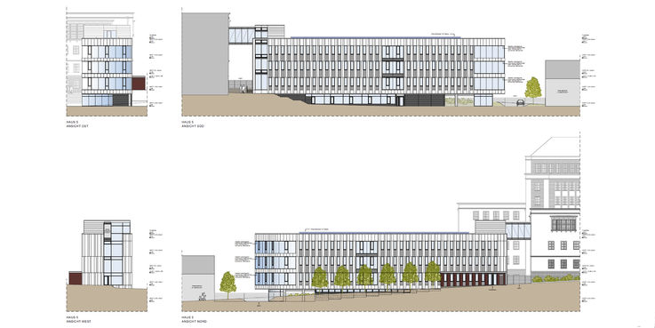 Gebäudeansichten des geplanten Neubaus Haus 5 in der Blücherstraße 1-3 © 2019 ARGE buttler brenncke architekten  Rostock