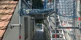 Gut gerüstet. Die Arbeiten an Dach und Fassade haben im Frühjahr 2019 begonnen. © 2019 Betrieb für Bau und Liegenschaften Mecklenburg-Vorpommern