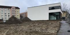Baufeld wird vorbereitet: Abbrucharbeiten im Februar 2019. © 2019 Betrieb für Bau und Liegenschaften Mecklenburg-Vorpommern