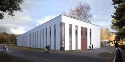 So soll die Forschungshalle (Bauteil II) später aussehen. Visualisierung mit Blick von der Joachim-Jungius-Straße. © Bastmann + Zavracky BDA Architekten GmbH  Rostock