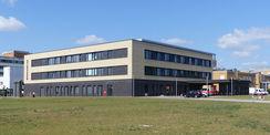 Der Neubau Notaufnahme - Ansicht von Nordosten © 2019 Betrieb für Bau und Liegenschaften Mecklenburg-Vorpommern