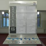 Auf jeder Etage ist im Flurbereich eine Orientierungstafel mit Tastmodell installiert. © 2018 Betrieb für Bau und Liegenschaften Mecklenburg-Vorpommern