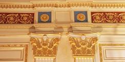 Schmuckelement im Goldenen Saal. Der Saal wurde zuletzt im Jahr 2009 denkmalgerecht restauriert. Verantwortlich war der BBL M-V Geschäftsbereich Schwerin. © 2020 Christian Hoffmann  FM M-V