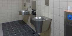 Sanitärraum im Gewahrsamsbereich mit mit gegen Vandalismus gesicherter Ausstattung © 2020 SBL Greifswald