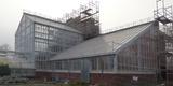 Die historischen Gewächshäuser - im Hintergrund das in der Höhe herausragende mittige Palmenhaus  vorn das nördlich anschließende Cycadeenhaus © 2020 SBL Greifswald