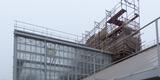 Die Backsteinwand des rückwärtigen Sozialtraktes wird nach der Sanierung wieder seinen abgetreppten Giebel sowie zwei nachgebildete Schornsteine haben © 2020 SBL Greifswald