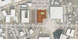 Lageplan - Der Neubau CFGM schafft zusammen mit der Bibliothek eine Raumspange  durch die der Zentrale Platz seine endgültige Fassung erhält. © 2013 MHB Planungs- und Ingenieurgesellschaft mbH  Rostock