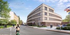 Visualisierung - so wird sich Polizeineubau nach Fertigstellung präsentieren © 2020 gmw planungsgesellschaft mbH  Stralsund